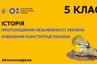 Історія. Проголошення незалежності України. Ухвалення Конституції України