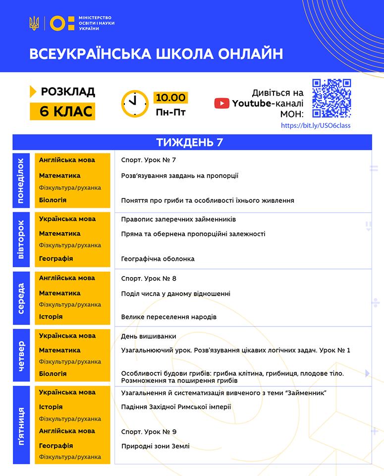 6 клас. Всеукраїнська школа онлайн. Розклад на 7-й тиждень