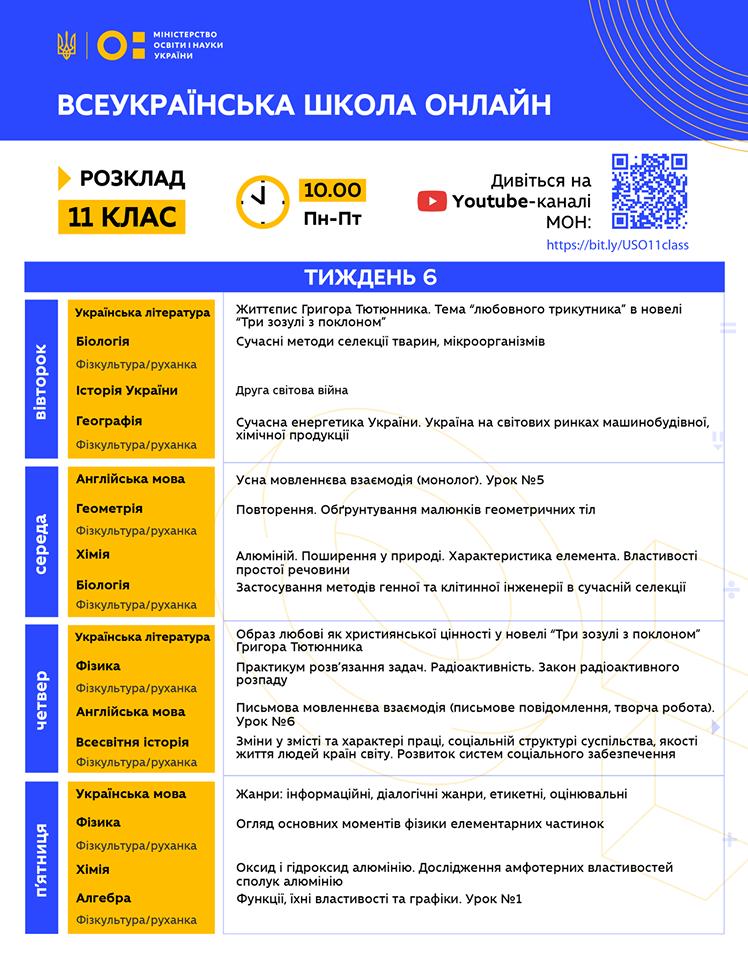 11 клас. Всеукраїнська школа онлайн. Розклад на 6-й тиждень