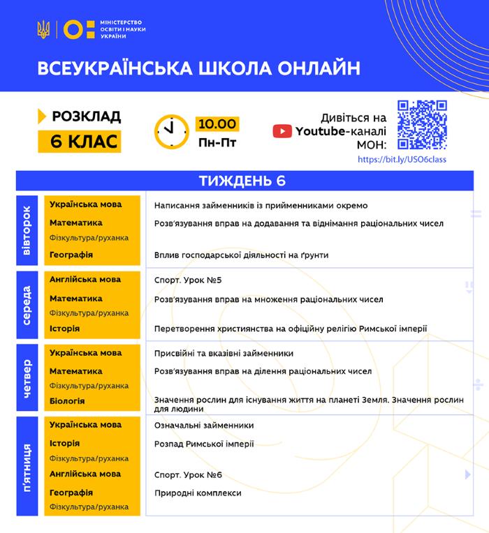 6 клас. Всеукраїнська школа онлайн. Розклад на 6-й тиждень