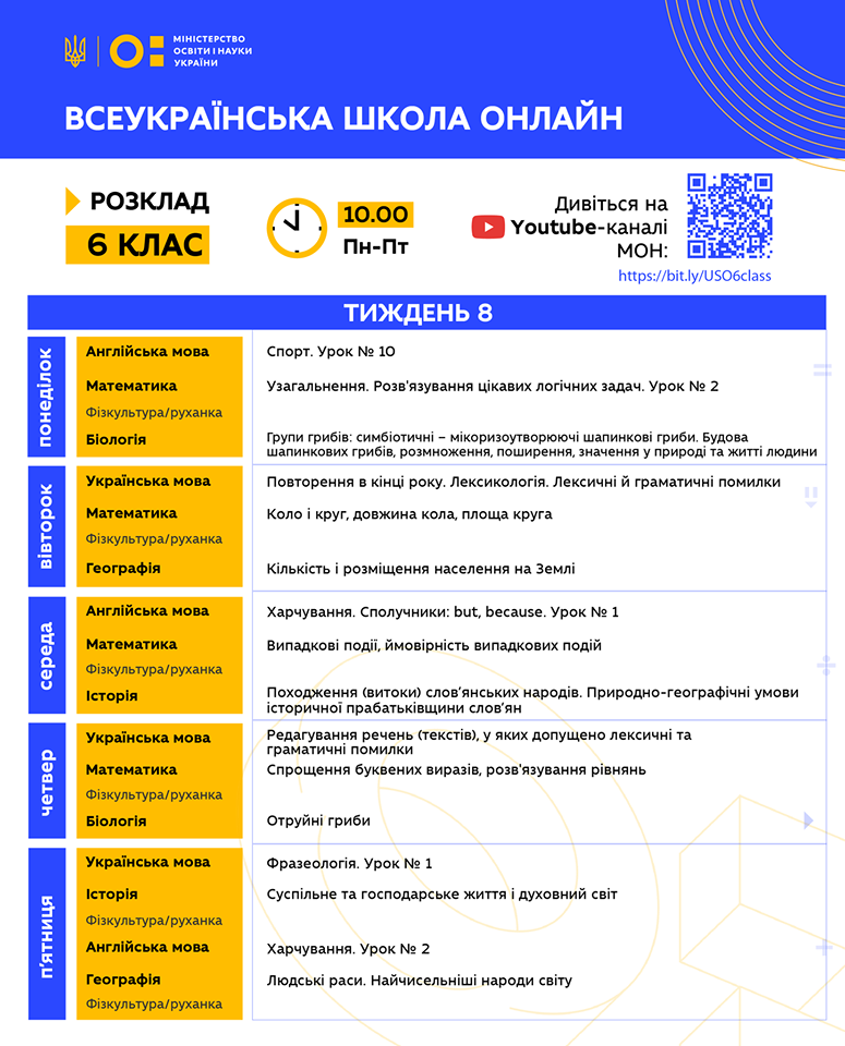 6 клас. Всеукраїнська школа онлайн. Розклад на 8-й тиждень