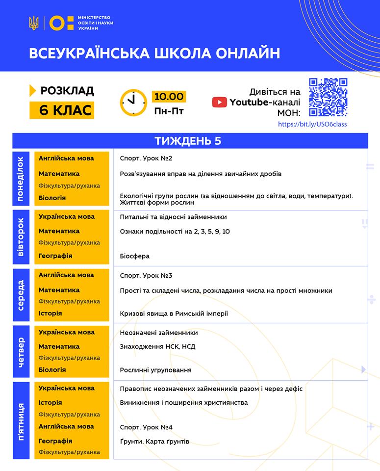 6 клас. Всеукраїнська школа онлайн. Розклад на 5-й тиждень