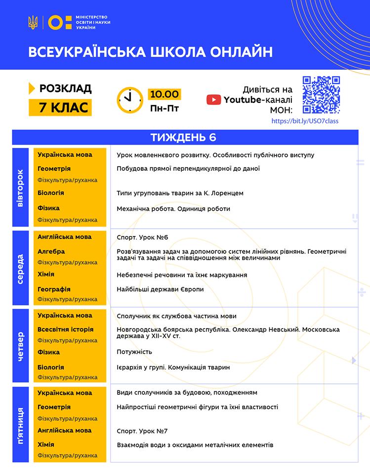 7 клас. Всеукраїнська школа онлайн. Розклад на 6-й тиждень