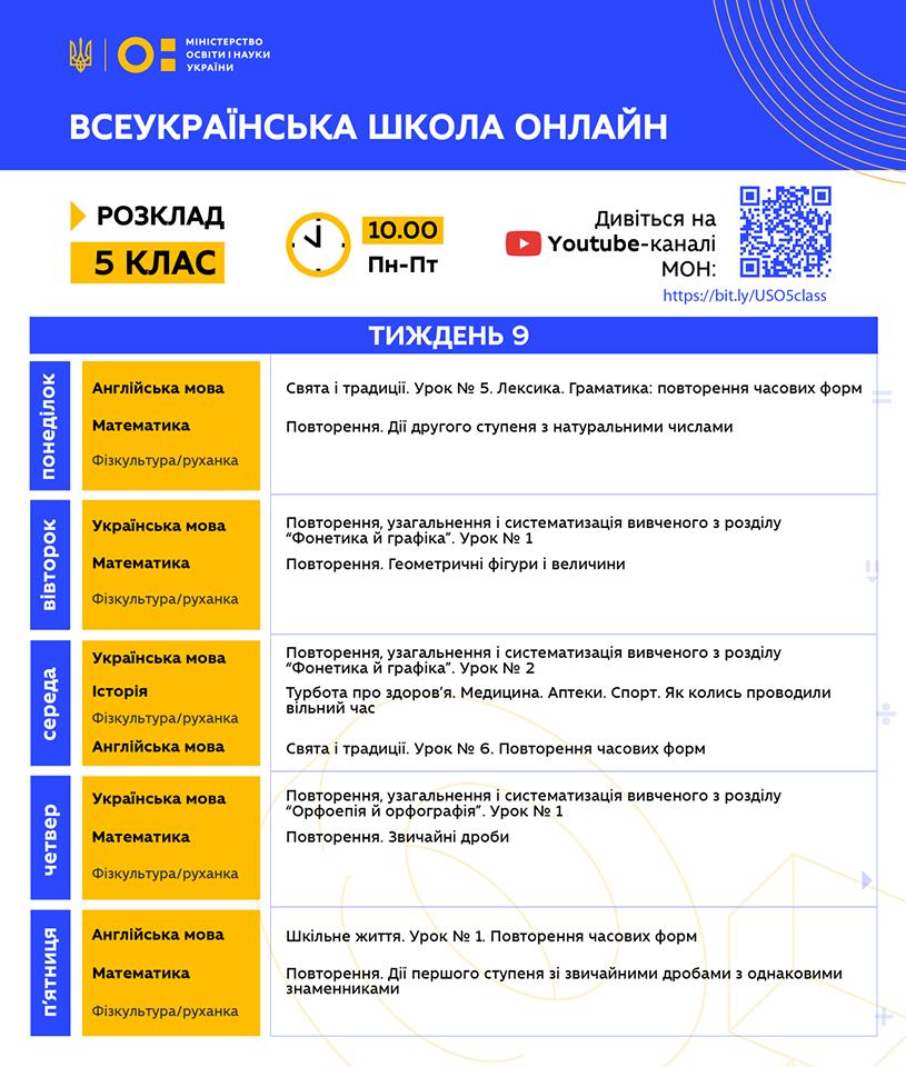 5 клас. Всеукраїнська школа онлайн. Розклад на 9-й тиждень