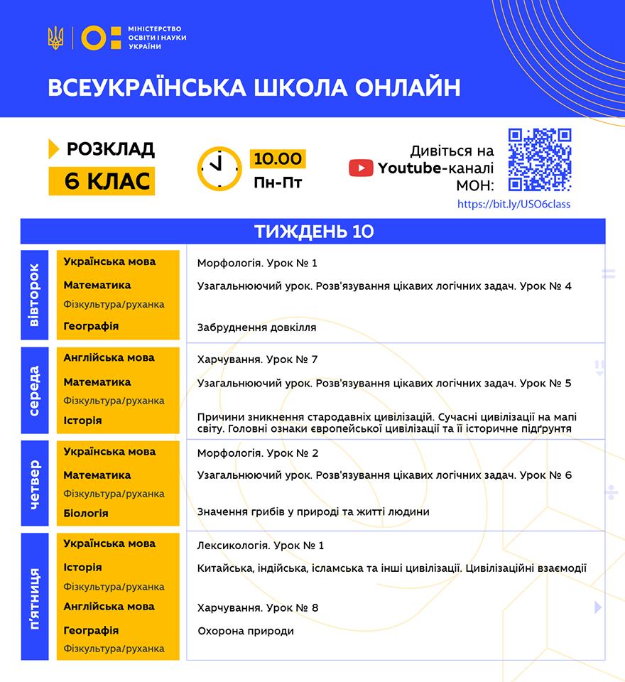 6 клас. Всеукраїнська школа онлайн. Розклад на 10-й тиждень