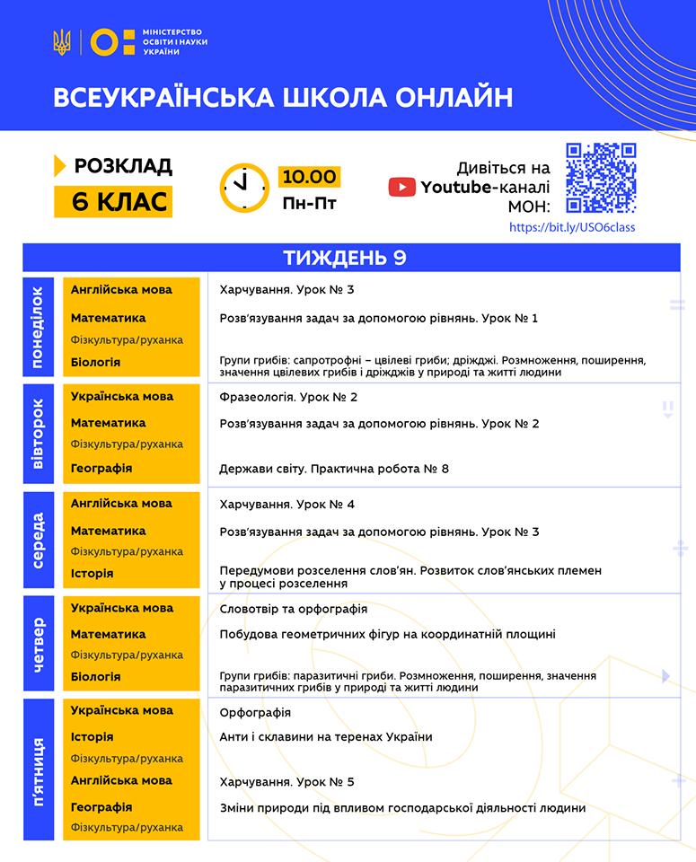 6 клас. Всеукраїнська школа онлайн. Розклад на 9-й тиждень