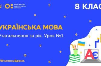 8 клас. Українська мова. Узагальнення за рік